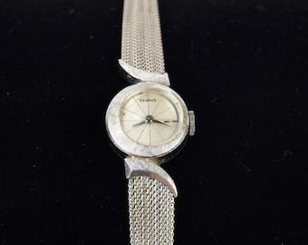 Mid-Century Modern Benrus 14k Brushed White Gold Ladies Watch Offset Dial Swoosh Lugs