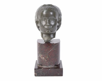 Vintage Spelter Bronze Bust of Woman on Marble Plinth