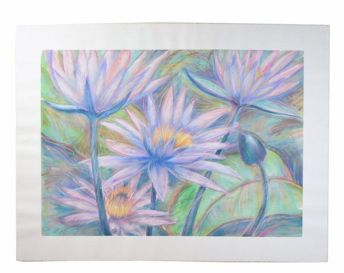 Large Scale Color Pastel Drawing #1 Tropical Flowers Patricia McGeeney California