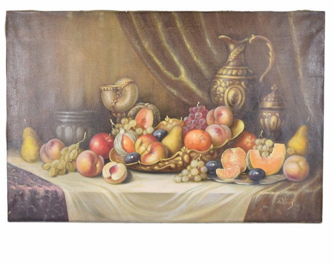 Vintage Still Life Hungarian Oil Painting Bountiful Table Laden with Melons Fruit