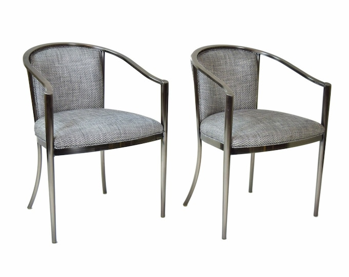 Pair Design Institute of America DIA Modernist Metal Armchairs Gun Metal Blue