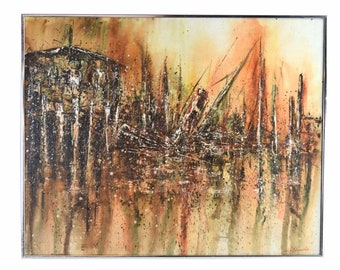 """Vintage Mid Century Modern Brutalist Abstract Painting """"Sinking Ship"""" Edwards as-is"""