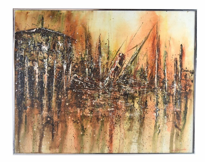 "Vintage Mid Century Modern Brutalist Abstract Painting ""Sinking Ship"" Edwards as-is"