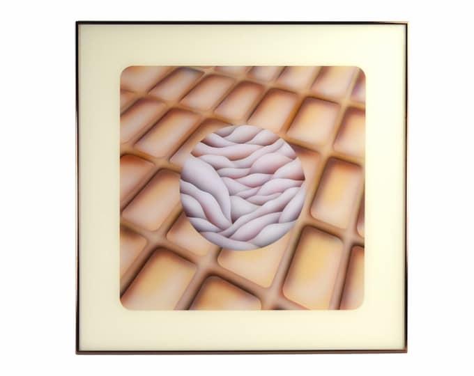 1970s Abstract Geometric Biomorphic Op Art Reverse Painting Acrylic Pinzarrone
