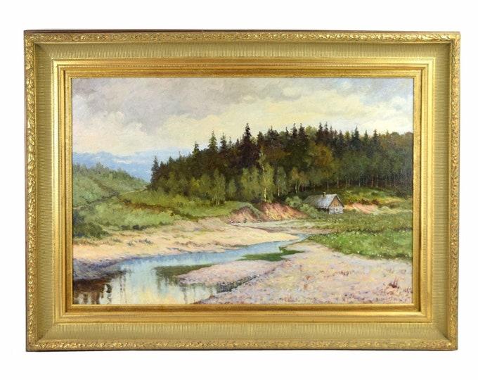 Impressionist Pine Woods Landscape Painting Cabin Along River Bluffs sgd Borowski