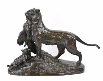 1866 Auguste-Nicholas Cain French Animalier Tigress Feeding Her Cubs Bronze