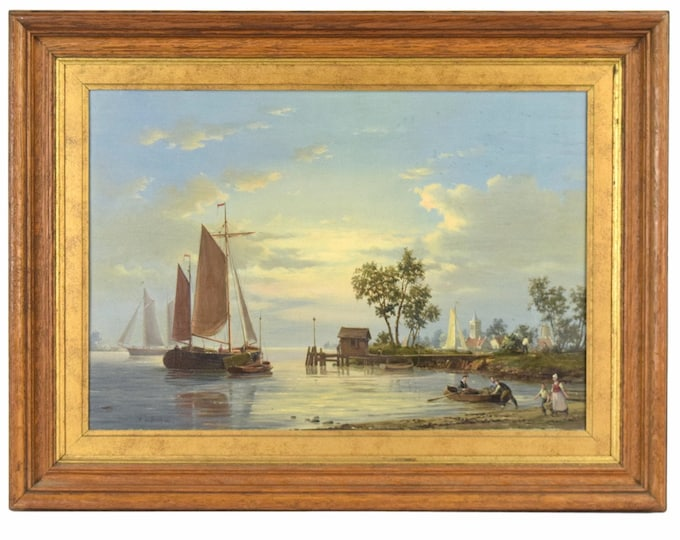 Early 20th C. De Groote Dutch Oil Painting Fishing Boats and Fisherfolk at Work as-is