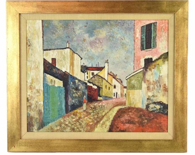 Vintage Mid-Century Modern Streetscape Textural Impasto Oil Painting Signed