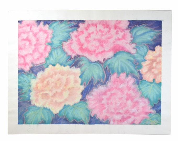 Large Color Pastel Drawing #3 Pink & Peach Blossoms Flowers Patricia McGeeney California