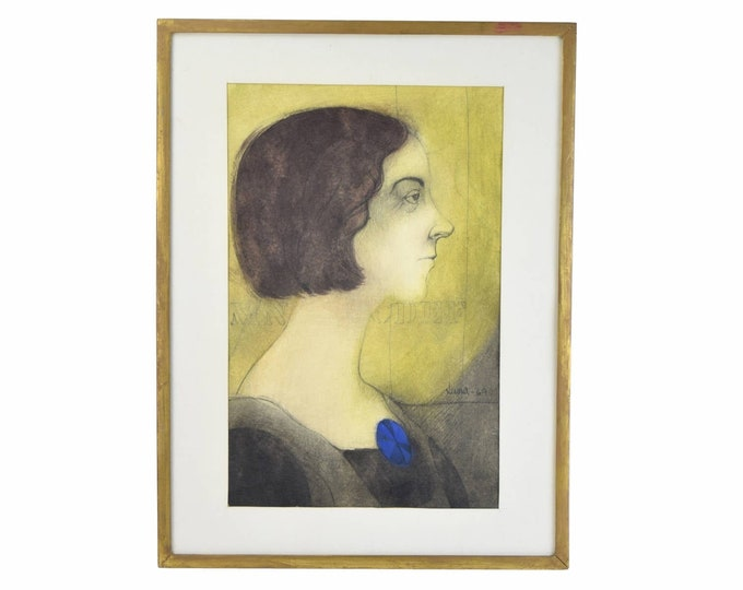 1969 Watercolor Painting Portrait of Young Woman w Blue Brooch signed Luna
