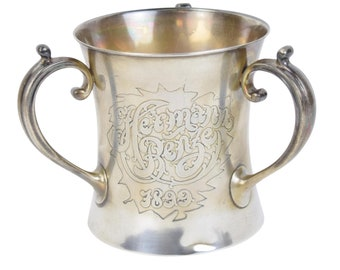 Antique 1898 Gorham Sterling Silver Engraved 3-Handle Loving Cup