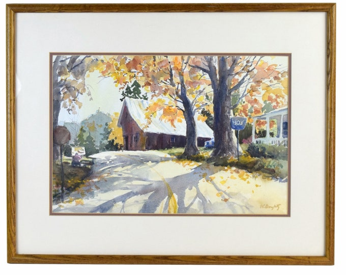 Vintage Watercolor Painting Rural Farmhouse and Barn on Highway by Doughty
