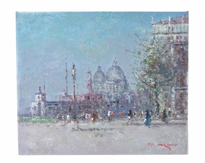 Impressionist Oil Painting Venice Santa Street Scene Maria della Salute Morgan