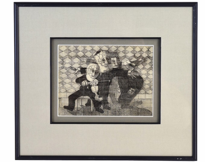 """Vintage Meyer Lieberman """"Exaltation"""" 1950's Abstract Pen and Ink Drawing NYC"""