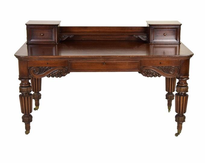 Antique Heavily Carved Mahogany Executive Desk Cowan Circa 1900 Chicago