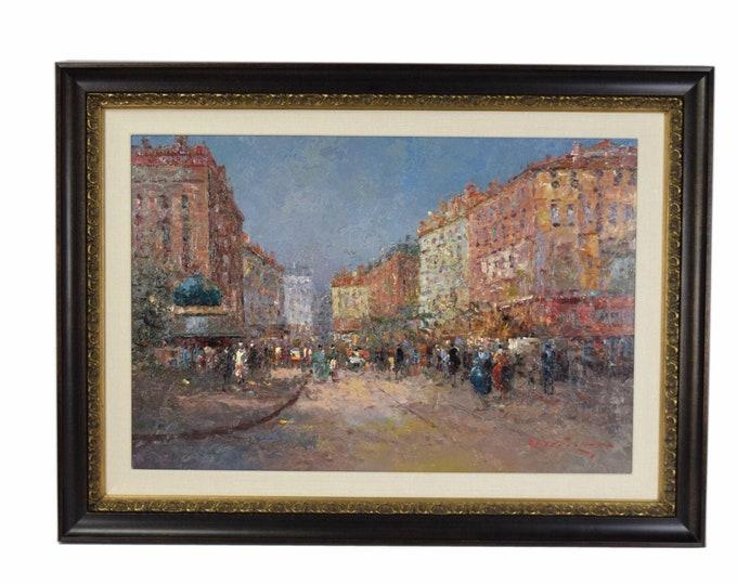 Large Impressionist Oil Painting Parisian Street Scene Morris Column by Morgan