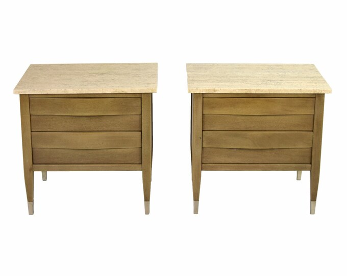 Pair Vintage Mid Century Modern Travertine End Tables Nightstands Chests