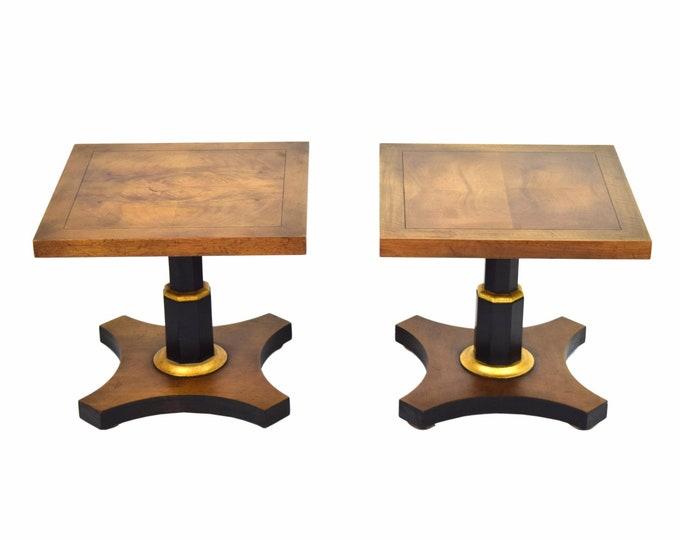 Pair Baker Mid-Century Occasional Tables Single Pedestal Walnut Black & Gilt Accents