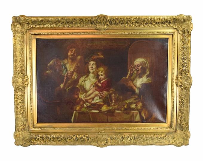 1884 Oil Painting Flemish Baroque Genre Scene Family at Table after Jacob Jordaens