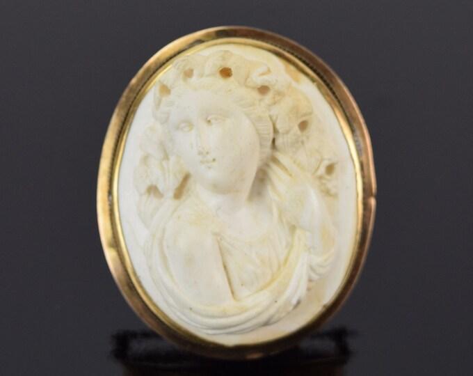 Victorian Grand Tour Bas-Relief Carved Lava 14k Gold Portrait Brooch Bacchante