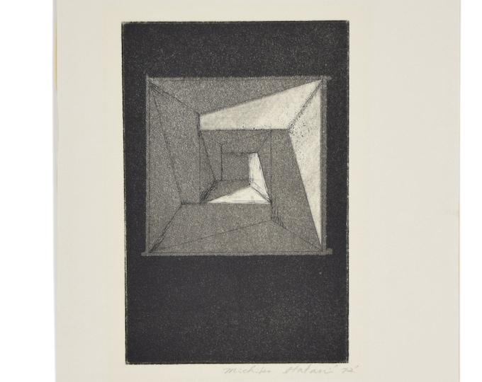 1972 Michiko Itatani Black & White Geometric Etching #2 Chicago Artist