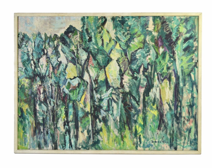 Vintage Mid-Century Abstracted Foliage Oil Painting signed Spertus