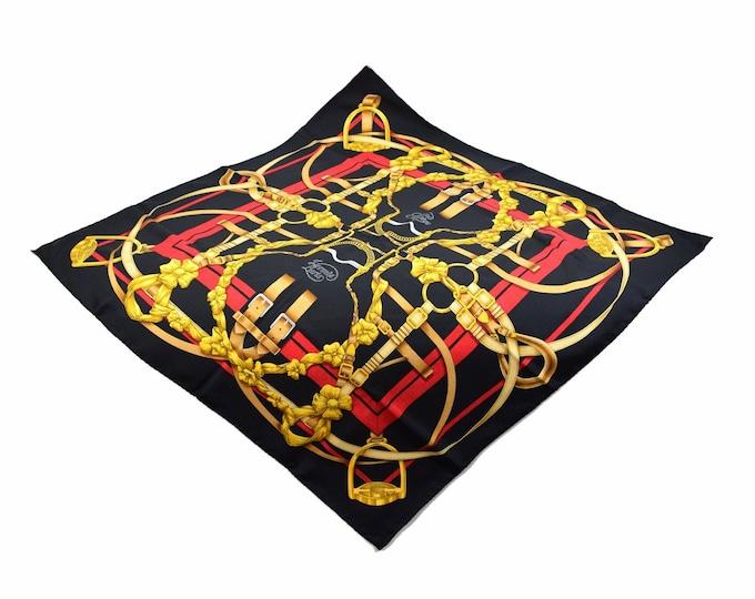 Vintage Hermes Grand Manege Pattern French Silk Scarf Original box