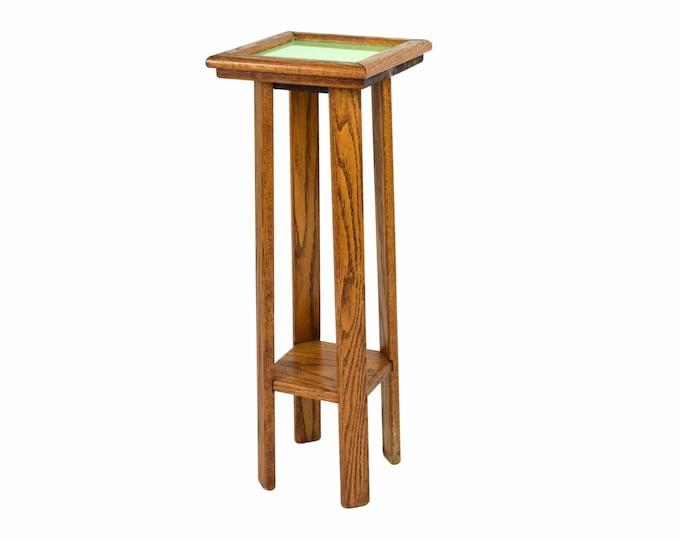 Vintage Oak Green Tile Top Pedestal Plant Stand