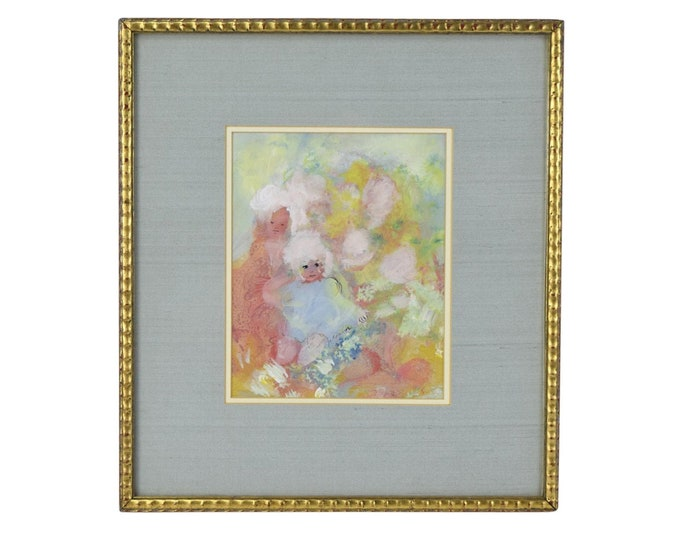 """1960's Gouache Painting Abstracted Little Girls signed """"A. Connor"""" Nicely Framed"""