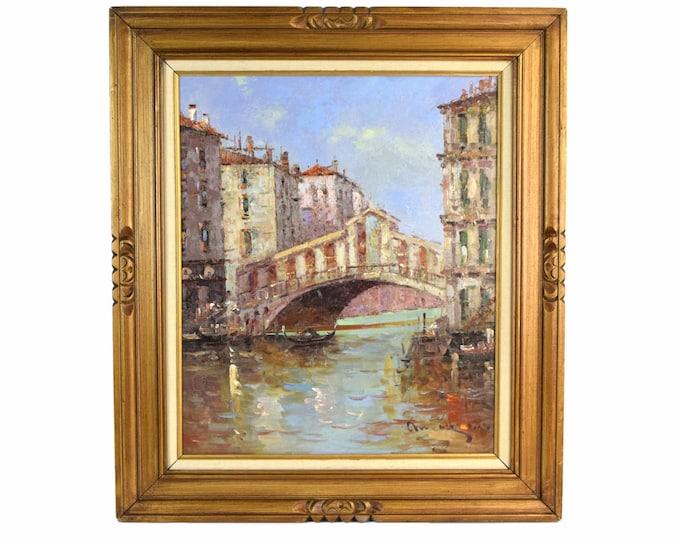 Vintage Impressionist Oil Painting Rialto Bridge Venice signed Morgan