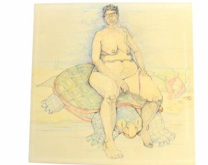 1980's Surrealist Color Pencil Drawing Nude Woman Riding Tortoise Bonnie Zak Chicago