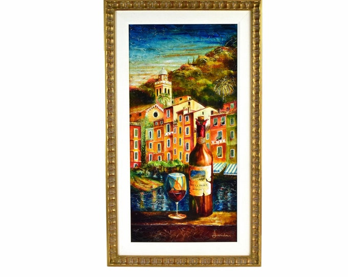 Alexandru Darida Oil Painting Enjoying Some Wine Italian Riveria