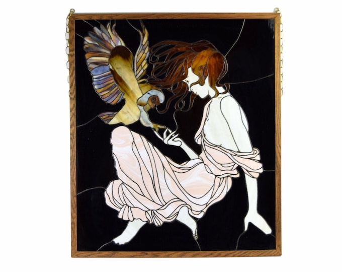 Vintage Stained Glass Window Semi-Nude Modern Goddess Minerva with Owl