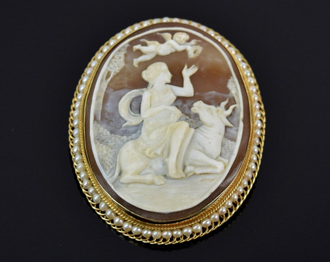 Vintage 14k Gold Finely Carved Shell Cameo Europa with Zeus as a Bull & Cupid