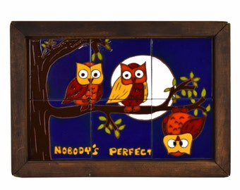 Vintage 1970's Hand Painted Studio Pottery Tile Plaque Three Owls Nobody's Perfect