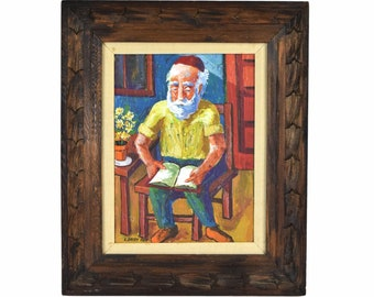 1969 Mid Century Colorful Textural Painting Jewish Man Reading sgd Brody