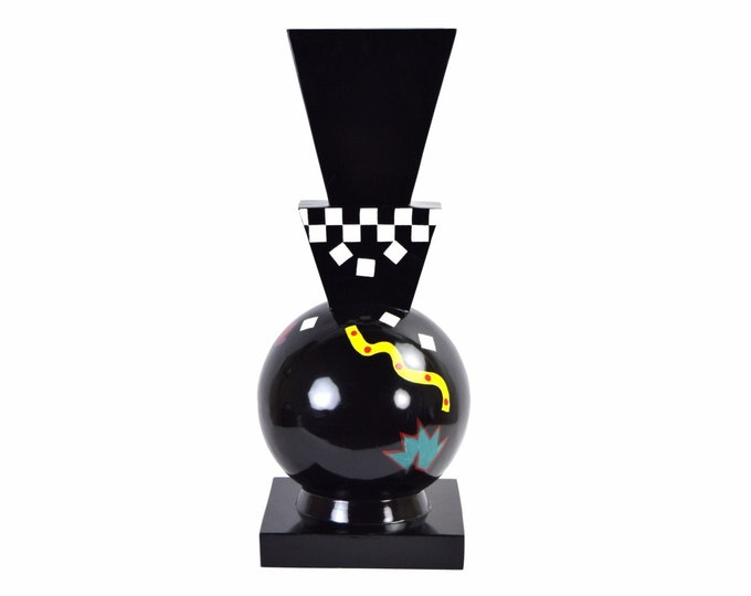 Vintage 1980's Memphis Style Floor Vase Black Lacquer Sphere Hand Painted Shapes