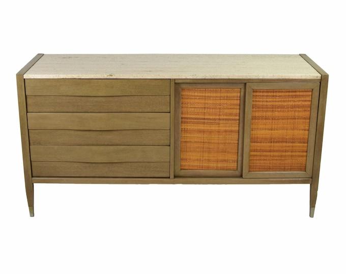 Vintage Mid Century Modern Travertine Top Credenza Sideboard Dresser
