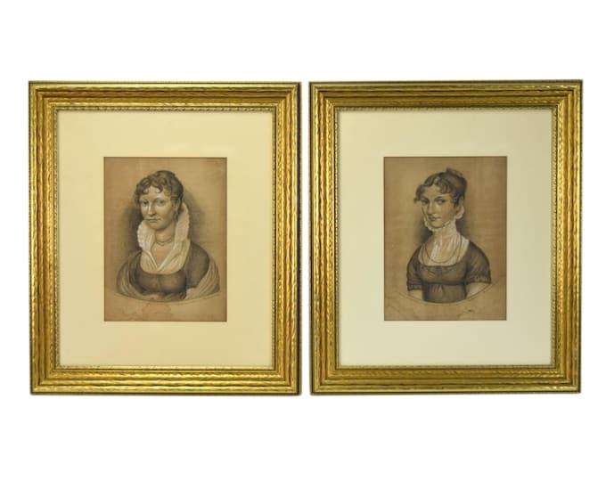 Pair German Charcoal Drawings Berensbach Kellerman Women Empire Style Clothing