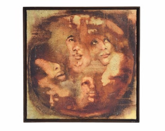 Vintage Midcentury Modern Abstract Painting Portrait Womans Faces Sgnd Mikrut