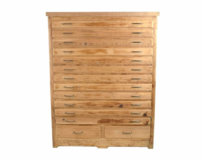 Vintage Rustic Pine Wood Flat File Fine Art Print Blueprint or Map Cabinet
