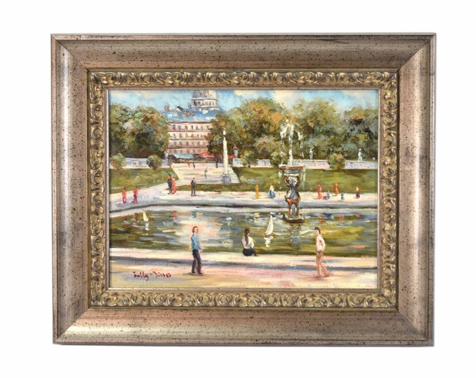 Impressionist Oil Painting Figures Around Fountain signed Sully Misso