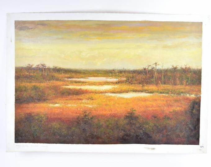 Impressionist Wetlands Prairie at Sunset Landscape Oil Painting signed Monio