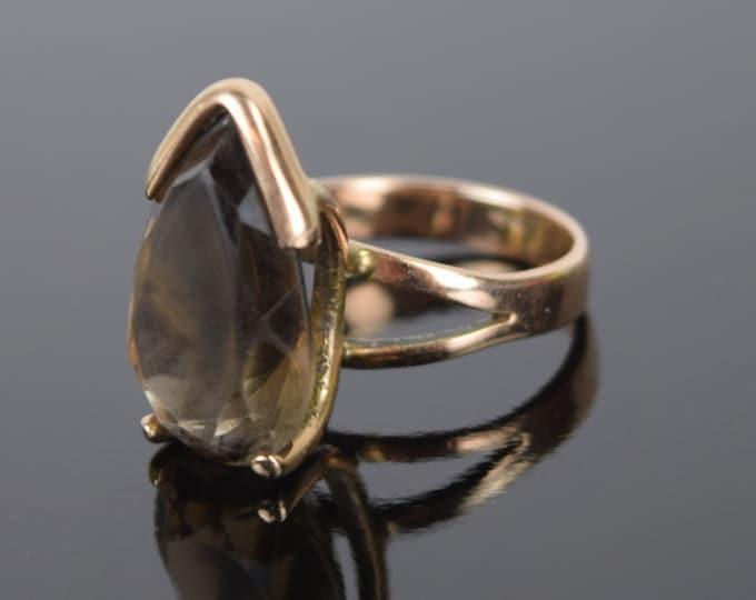 Vintage Mid-Century Modernist 14k Gold Ring Teardrop Smokey Quartz Solitaire
