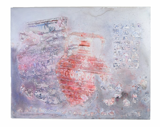 1986 Large Abstract Painting Deconstructed Ancient Pottery Fragments sgnd Schulman