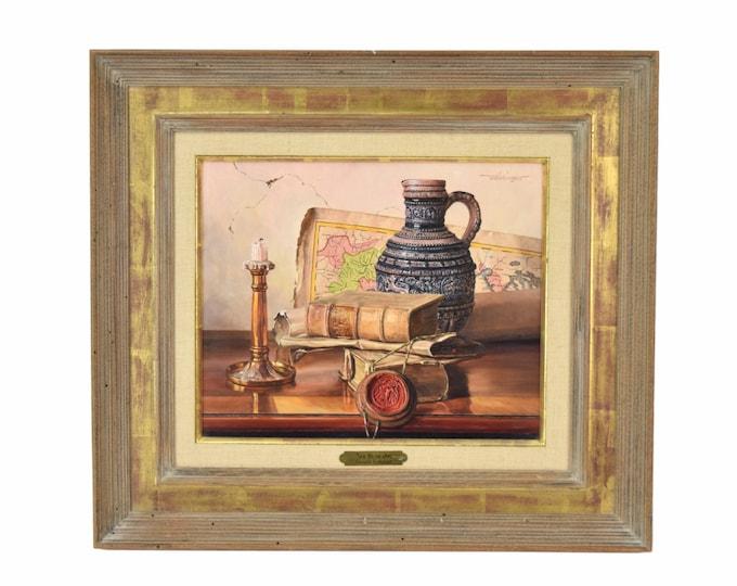 "Vintage ""The Blue Jug"" Old Master Style Still Life Painting Oswald Eichinger German Austria"