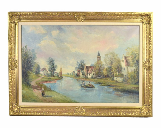 Vintage Italian Impressionist Oil Painting Woman Walking Along River Sgnd G. Mario