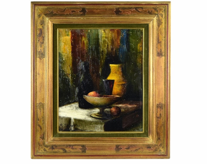 R. J. Bizet 1966 French Mid Century Still Life Oil Painting