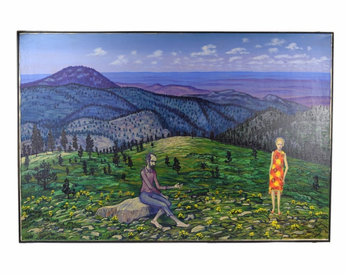 "Vintage 1970s Oil Painting ""St. John on Patmos"" Black Hills South Dakota Dick Fort"
