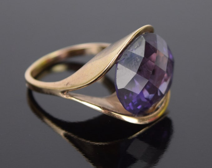 Vintage Mid-Century Modernist 14k Gold Clamshell Ring Purple Amethyst Solitaire